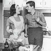Couple Standing In Kitchen, Smiling, (b&w) Art Print