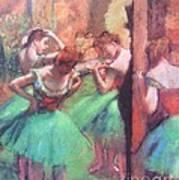Dancers - Pink And Green Art Print