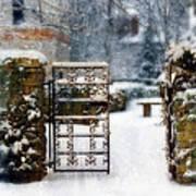 Decorative Iron Gate In Winter Art Print