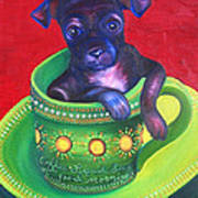 Dog In Cup Art Print