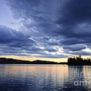 Dramatic Sunset At Lake Art Print