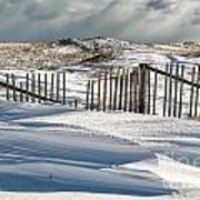 Drifting Snow Along The Beach Fences At Nauset Beach In Orleans  Art Print