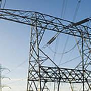 Electricity Pylons Against A Clear Blue Art Print