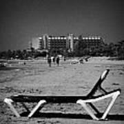 Empty Sun Lounger On Cyprus Tourist Organisation Municipal Beach In Larnaca Bay Republic Of Cyprus Art Print