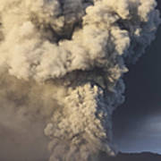 Eruption Of Ash Cloud From Mount Bromo Art Print
