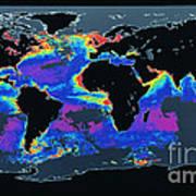False-col Satellite Image Of Worlds Art Print by Dr. Gene Feldman, NASA Goddard Space Flight Center