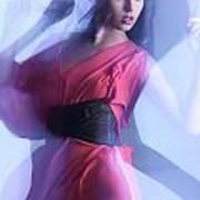 Fashion Photo Of A Woman In Shining Blue Settings Art Print