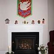 Fireplace At Christmas Art Print