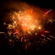 Firework Display At New Year's Eve Art Print