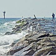 Fishing The Jetty - Island Beach State Park   Nj Art Print