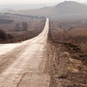 Foggy Road In Dobrogea Art Print