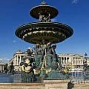 Fountain At Place De La Concorde. Paris. France Art Print