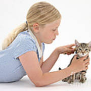 Girl Grooming Kitten Art Print