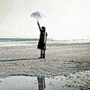 Girl On The Beach With Parasol Art Print