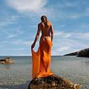 Girl With The Orange Veil Art Print