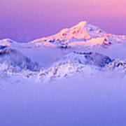 Glacier Peak Alpenglow - Purple Art Print
