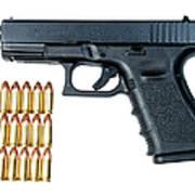 Glock Model 19 Handgun With 9mm Art Print