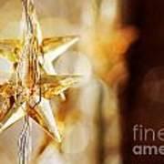 Golden Christmas Stars Art Print