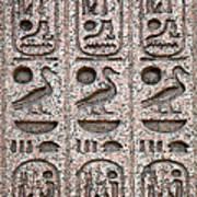 Hieroglyphs On Ancient Carving Art Print by Jane Rix