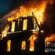 House On Fire Print by Photo Researchers, Inc.