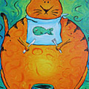 Hungry Cat Art Print by Jennifer Alvarez