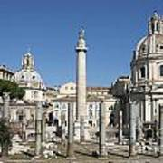 Imperial Fora With The Trajan's Column And The Church Santissimo Nome Di Maria.  Rome Art Print