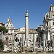 Imperial Fora With The Trajan's Column And The Church Santissimo Nome Di Maria.  Rome Art Print by Bernard Jaubert