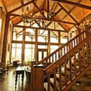 Interior Of Large Wooden Lodge Art Print