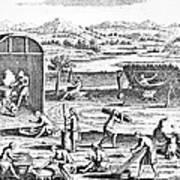 Iroquois Village, 1664 Art Print
