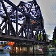 Jack-knife Bridge At Erie Canal Harbor Art Print