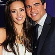 Jessica Alba, Cash Warren At Arrivals Art Print by Everett