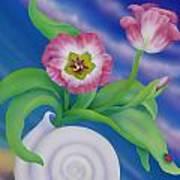 Ladybug And Tulips Art Print