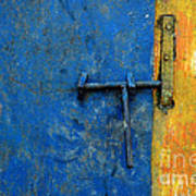 Latch The Door On The Faded Blue And Yellow Wall Art Print