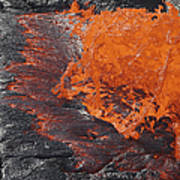 Lava Bursting At Edge Of Active Lava Art Print