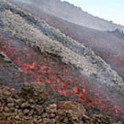 Lava Flow During Eruption Of Mount Etna Art Print