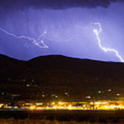 Lightning Striking Over Ibm Boulder Co 2 Art Print