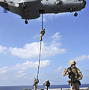 Marines Fast Rope From A Ch-46e Sea Art Print