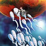 Medical Nanorobot On Sperm Cell Art Print