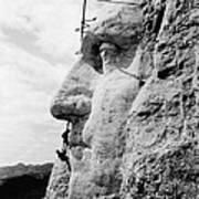 Men Working On Mt. Rushmore Art Print