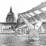 Millenium Bridge And St Pauls Art Print