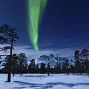 Moonlight And Aurora Borealis Art Print