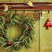 Old Pair Of Skis Hanging With Wreath Art Print by Sandra Cunningham
