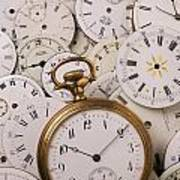 Old Pocket Watch On Dail Faces Art Print