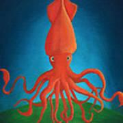 Orange Squid Art Print