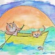 Owl And Pussycat Art Print