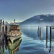 Passenger Ship On An Alpine Lake Art Print