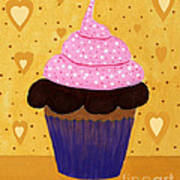 Pink Frosted Cupcake Art Print