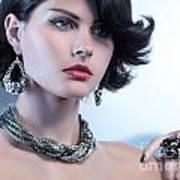 Portrait Of A Beautiful Woman Wearing Jewellery Art Print