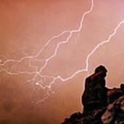 Praying Monk Camelback Mountain Lightning Monsoon Storm Image Tx Art Print