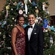 President And Michelle Obama Pose Art Print